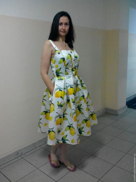 Платья ручной работы. Ярмарка Мастеров - ручная работа. Купить Сарафан ,,Лимон,,. Handmade. Лимонный, летняя юбка