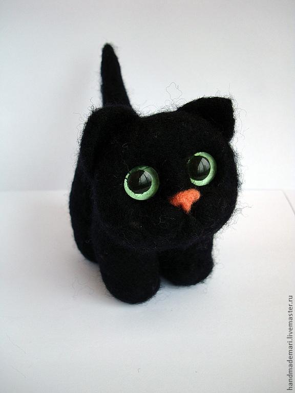 Чёрный котик (игрушка из войлока), Мягкие игрушки, Москва,  Фото №1