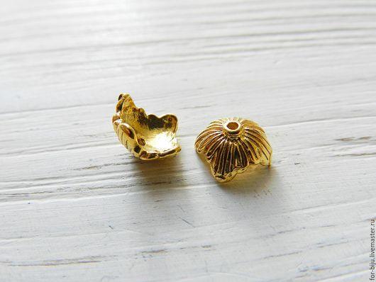 Шапочка для бусин покрытие золото 24К, размер 8*9 мм, высота 4,5 мм,  отверстие 2 мм, материал латунь, пр-во о. Бали , ручная работа, подходят для бусин диаметром 8 мм. (арт. 2292)