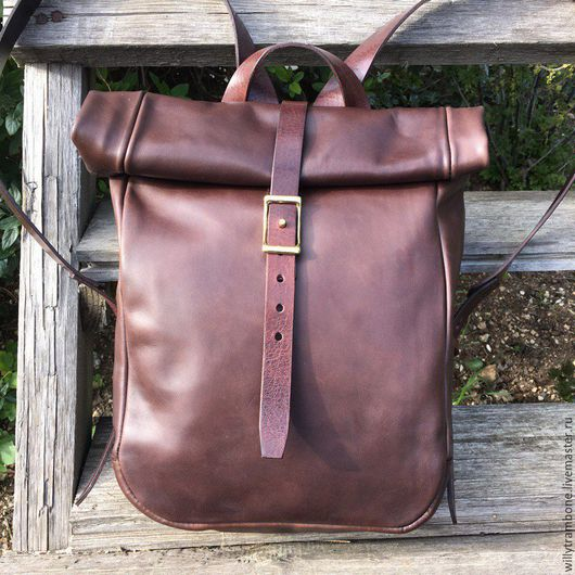 Рюкзаки ручной работы. Ярмарка Мастеров - ручная работа. Купить Рюкзак-скрутка тёмно коричневый. Handmade. Купить рюкзак, скрутка