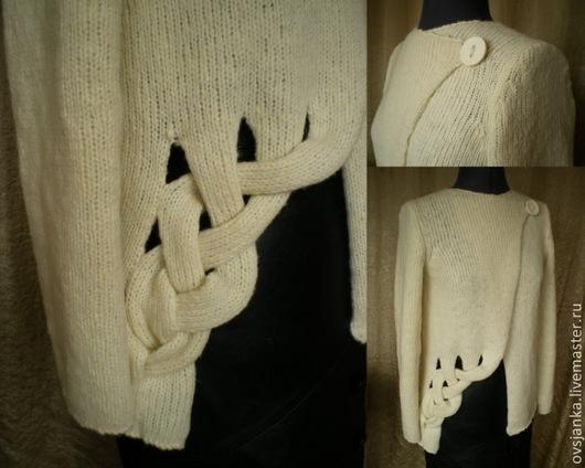 Кофты и свитера ручной работы. Ярмарка Мастеров - ручная работа. Купить кофта вязанная разлетайка на одной пуговице. Handmade.