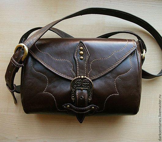 Женские сумки ручной работы. Ярмарка Мастеров - ручная работа. Купить Сумочка женская с ремнём из натуральной кожи коричневая. Handmade.