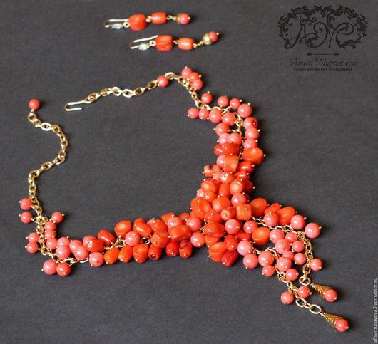 """Колье, бусы ручной работы. Ярмарка Мастеров - ручная работа. Купить Колье- гроздь  """" Coral sunset """" коралл, позолота. Handmade."""