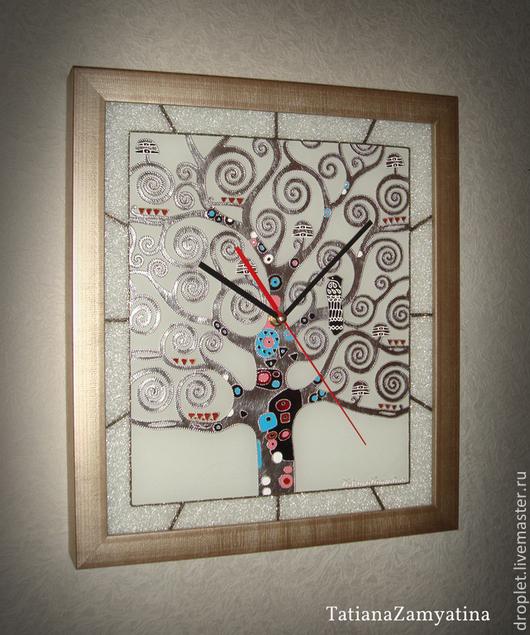 """Часы для дома ручной работы. Ярмарка Мастеров - ручная работа. Купить Часы """"Древо жизни"""" серебро. Handmade. Серебряный, в подарок"""