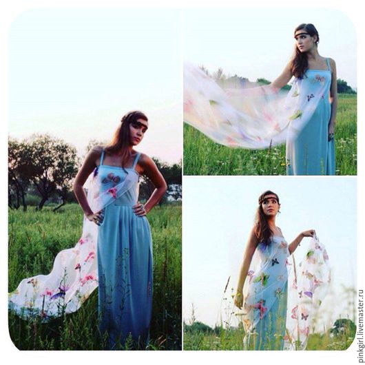 Платья ручной работы. Ярмарка Мастеров - ручная работа. Купить платье впол трикотажное со шлейфом из органзы. Handmade. Голубой