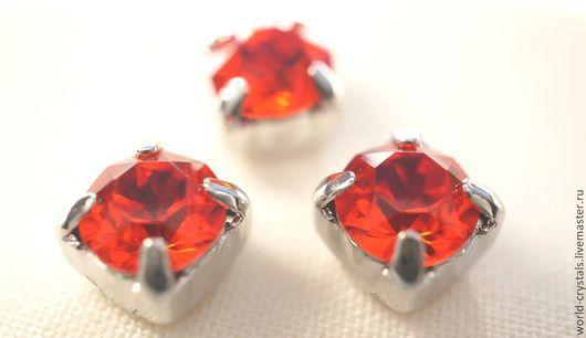 Кристаллы № 236 Гиацинт Цвет с яркой кислотно-оранжевой ноткой оправы в родии
