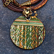 Украшения ручной работы. Ярмарка Мастеров - ручная работа кулон из полимерной глины уютный вязанный. Handmade.