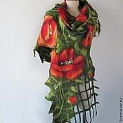 Аксессуары ручной работы. Ярмарка Мастеров - ручная работа Нуно войлочный шарф - Маки. Handmade.