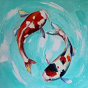 Картины и панно handmade. Livemaster - original item Oil painting with carp