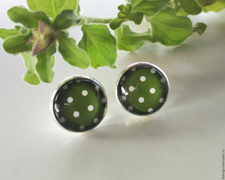 Earrings silver plated Pea green, Earrings, Moscow,  Фото №1