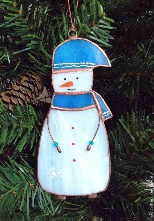 Элементы интерьера ручной работы. Ярмарка Мастеров - ручная работа. Купить Снеговик. Handmade. Подарок, снеговичок, витражи тиффани
