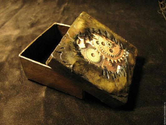 Подарочная упаковка ручной работы. Ярмарка Мастеров - ручная работа. Купить Упаковочная коробочка в стиле стимпанк (7х7). Handmade. Коричневый
