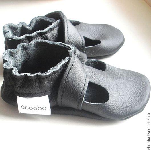 Кожаные чешки тапочки пинетки сандалики чёрные ebooba