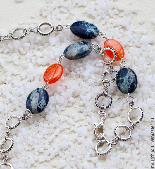Колье, бусы ручной работы. Ярмарка Мастеров - ручная работа. Купить Бусы сине-оранжевые с натуральными камнями Рассвет. Handmade.