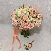 Свадебные букеты ручной работы. Ярмарка Мастеров - ручная работа Свадебный букет невесты в персиковых тонах. Handmade.