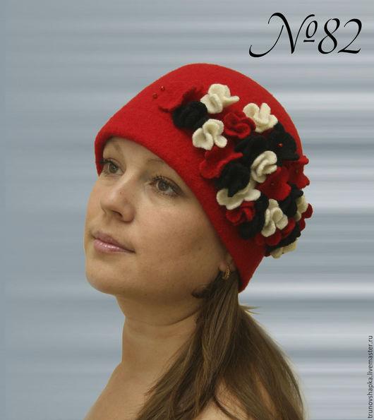 Шапки ручной работы. Ярмарка Мастеров - ручная работа. Купить Женская стильная шапочка Цветочик. Handmade. Ярко-красный