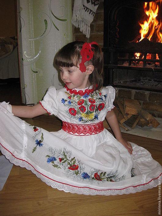 """Одежда для девочек, ручной работы. Ярмарка Мастеров - ручная работа. Купить Вышитое нарядное платье """"Маковка 3"""". Handmade."""