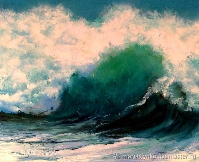 Painting The Sea. Storm the Big wave the Mediterranean sea, Pictures, Alicante,  Фото №1