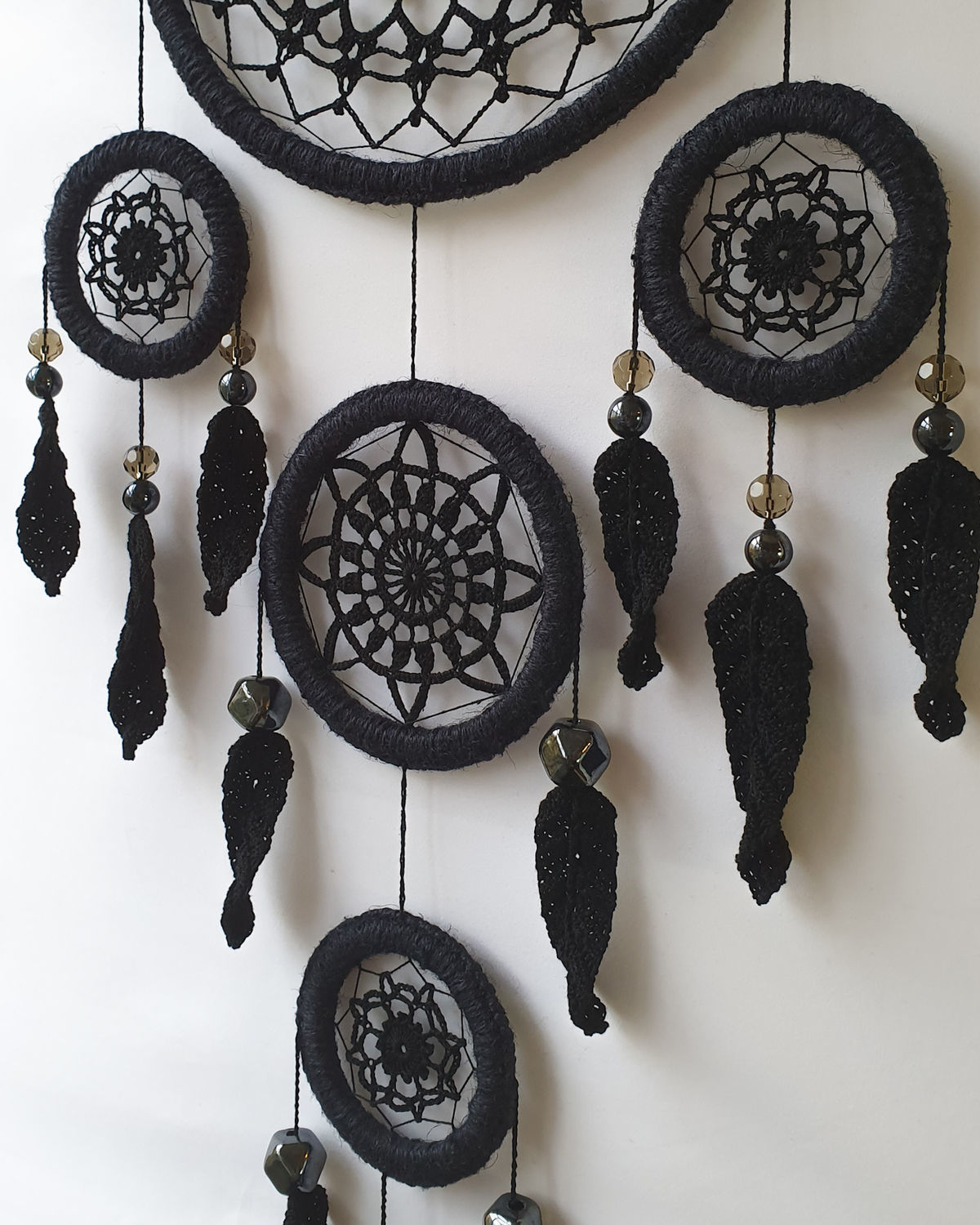Big black knitted dream catcher with feathers, Dream catchers, St. Petersburg,  Фото №1