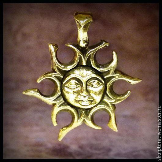"""Кулоны, подвески ручной работы. Ярмарка Мастеров - ручная работа. Купить Кулон """"Солнце - Луна"""" оберег , бронза авторская. Handmade."""
