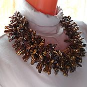 Украшения handmade. Livemaster - original item Necklace of brown pearls Biwa.. Handmade.