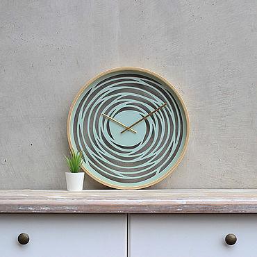 """Для дома и интерьера ручной работы. Ярмарка Мастеров - ручная работа Настенные деревянные часы """"Spiral"""" 40см (Палитра 2). Handmade."""