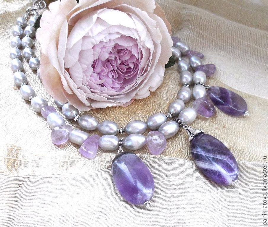 Necklaces 'Delicate luxury' (pearl, amethyst), Necklace, Moscow,  Фото №1
