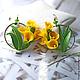 """Серьги ручной работы. Ярмарка Мастеров - ручная работа. Купить """"Солнечные каллы"""". Handmade. Желтый, калла, цветы из полимерной глины"""