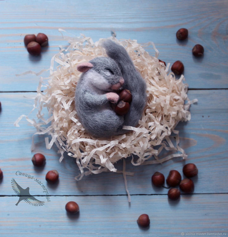 Sleeping squirrel (felted toy), Felted Toy, Voronezh,  Фото №1