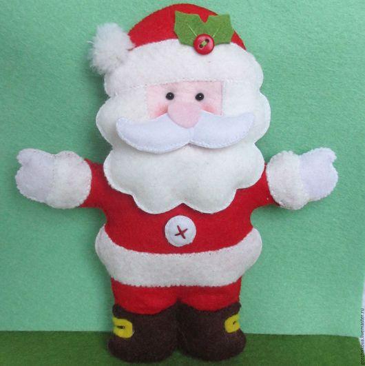 Новый год 2017 ручной работы. Ярмарка Мастеров - ручная работа. Купить Санта-Клаус, игрушка из фетра. Handmade. Ярко-красный