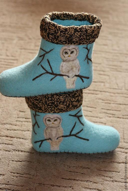 """Обувь ручной работы. Ярмарка Мастеров - ручная работа. Купить Домашние тапочки """"Филин"""". Handmade. Тапочки, тапочки из войлока, филин"""