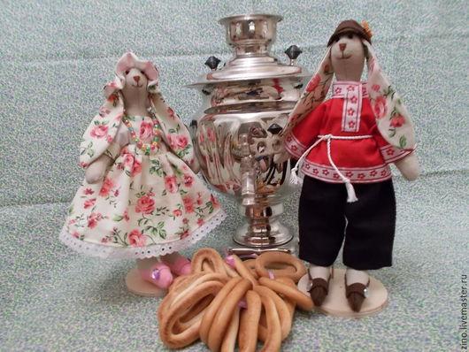 Куклы Тильды ручной работы. Ярмарка Мастеров - ручная работа. Купить Кролики Алена и Ваня. Handmade. Разноцветный, тесьма декоративная