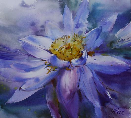 Картины цветов ручной работы. Ярмарка Мастеров - ручная работа. Купить акварель Синий цветок. Handmade. Синий, цветок, Живопись