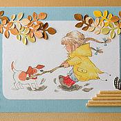 """Открытки ручной работы. Ярмарка Мастеров - ручная работа Открытка """"Осенние забавы"""". Handmade."""