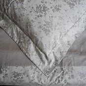 Для дома и интерьера ручной работы. Ярмарка Мастеров - ручная работа Постельное белье с изысканным жаккардовым рисунком розочки,  цвет серы. Handmade.