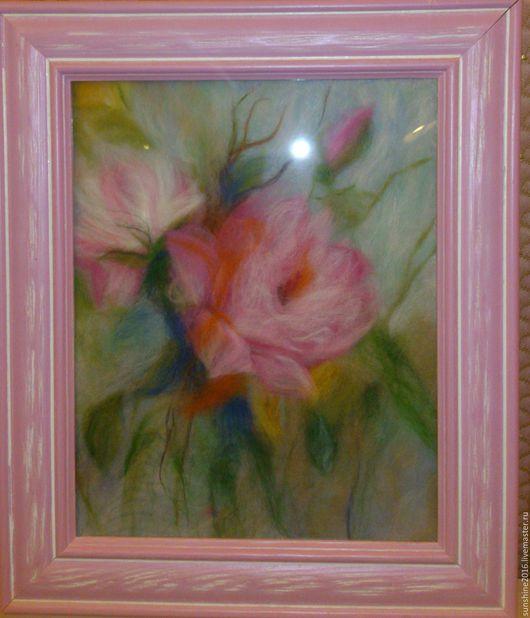 Картины цветов ручной работы. Ярмарка Мастеров - ручная работа. Купить Картины из шерсти Розы. Handmade. Розовый, картина из шерсти