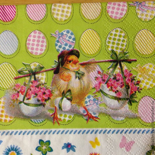 Птенчик в шляпе + нежный веселый фон  Салфетка для декупажа, фоновая салфетка Салфетка пр-во Германия Декупажная радость