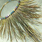 Украшения handmade. Livemaster - original item Necklace Bird of Happiness Feathers, hematite and genuine leather. Handmade.