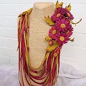 Украшения handmade. Livemaster - original item Necklace leather Extravaganza of the summer. Decoration leather.. Handmade.