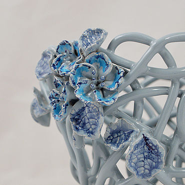 Цветы и флористика ручной работы. Ярмарка Мастеров - ручная работа Кашпо Фиалки голубые. Handmade.
