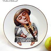 """Посуда ручной работы. Ярмарка Мастеров - ручная работа Фарфоровая тарелка """"Ангел со скрипкой"""". Handmade."""