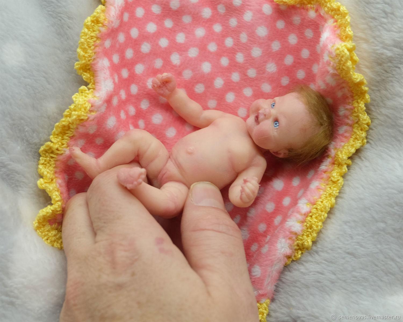 Полностью силиконовая малышка 12 см с дополнительным комплектом одежды, Куклы Reborn, Москва,  Фото №1