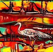 """Картины и панно ручной работы. Ярмарка Мастеров - ручная работа Картина """"Вышла на охоту"""". Красно-желтая. Handmade."""