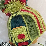 Аксессуары handmade. Livemaster - original item Warm winter woolen hat with ears and POM-POM Strip. Handmade.