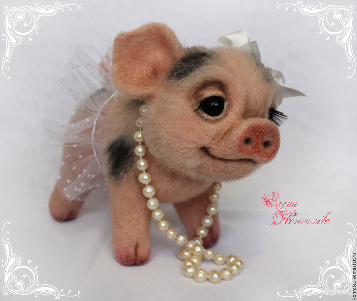 Penelope the pig is felted from wool. Felted pig minipig, Felted Toy, Nizhny Novgorod,  Фото №1