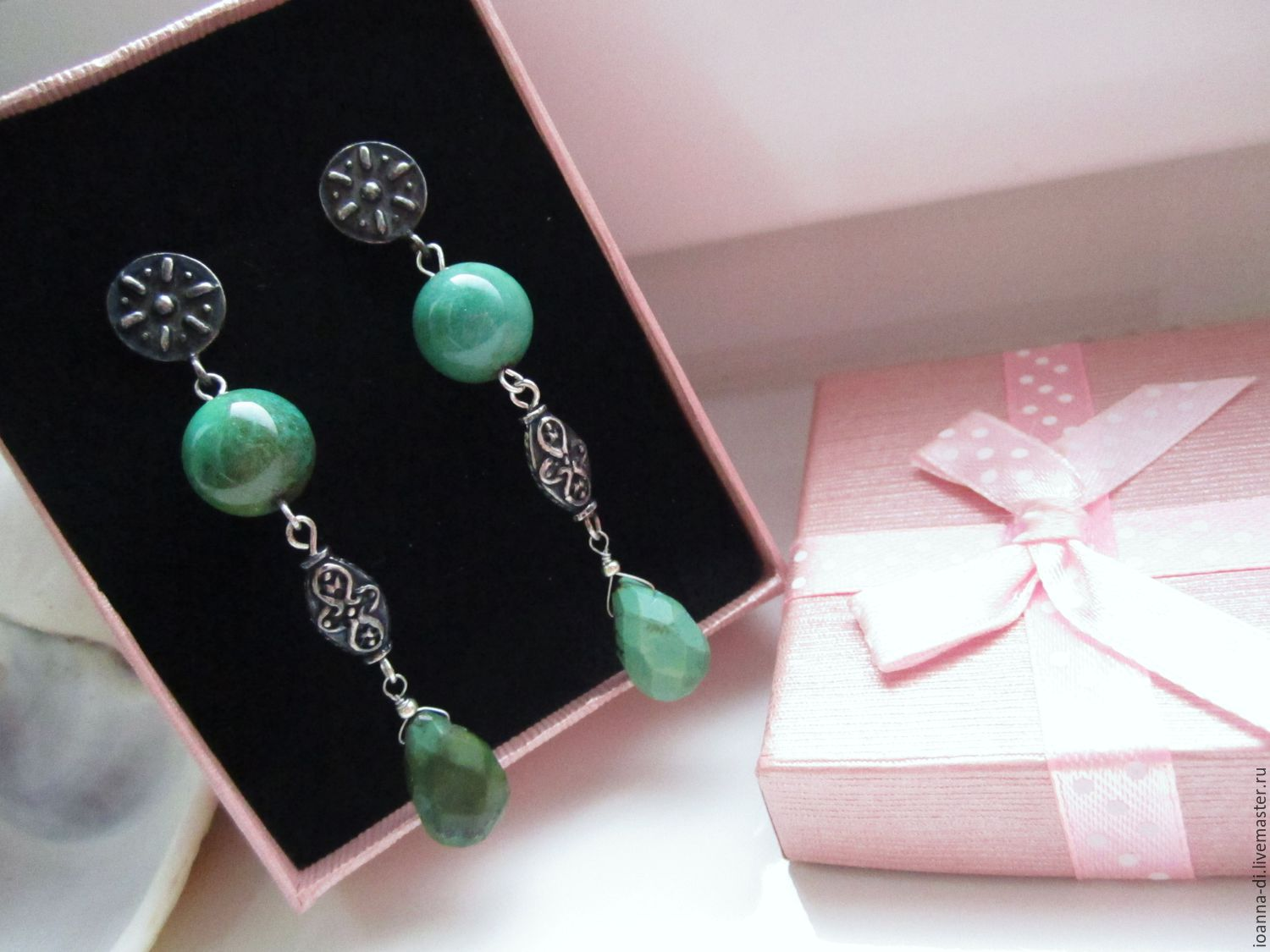 Earrings 'the Sun rises' silver, turquoise, chrysoprase, Earrings, Moscow,  Фото №1