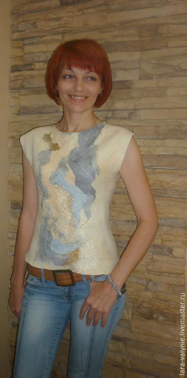 Блуза валяная `Ванильная нежность`. Блуза ручной работы, купить блузу валяную.Ярмарка мастеров-ручная работа.