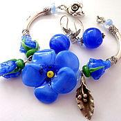Украшения handmade. Livemaster - original item Set of Bracelet and earrings Blue flowers lampwork. Handmade.