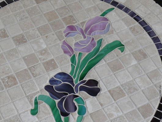 """Мебель ручной работы. Ярмарка Мастеров - ручная работа. Купить """" Ирисы на камнях"""" столик с мозаикой. Handmade. Фиолетовый"""