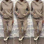 Одежда ручной работы. Ярмарка Мастеров - ручная работа Спортивный костюм теплый бежево-серый. Handmade.